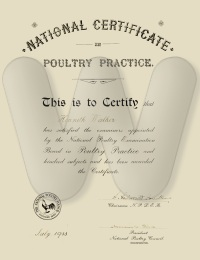 National Certificate in Poultry Practice awarded to Kenneth Walker