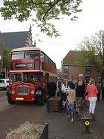 The bus arrives at the church